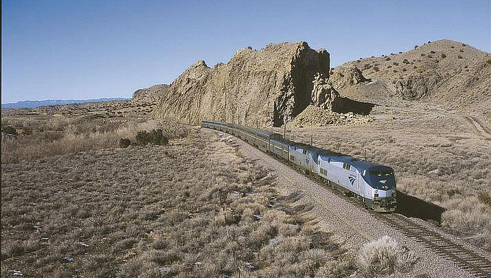 Amtrak's Soutwest Chief, which serves Kingman, traverses the desert of New Mexico. (Amtrak courtesy photo)
