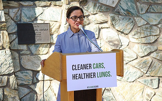 "State Rep. Isela Blanc, D-Tempe, shown here discussing carbon emissions standards, said Wednesday that HB 240, a bill that passed the House and would raise pawn lending rates to 20 percent, is ""predatory lending."" (Photo by Megan Marples/Cronkite News)"