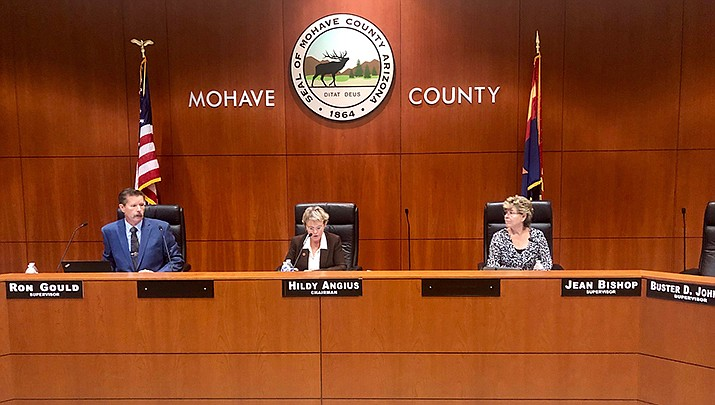 Mohave County Board of Supervisors are shown in session on Sept. 16, 2019. (Daily Miner file photo)