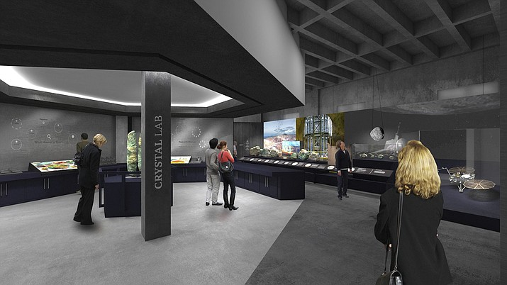 This rendering provided by the University of Arizona shows the Crystal Lab inside the planned expanded UA Gem and Mineral Museum where visitors will have a chance to grow their own crystal. The University of Arizona Gem and Mineral Museum will have a new name and new space next year in downtown Tucson. (University of Arizona via AP)