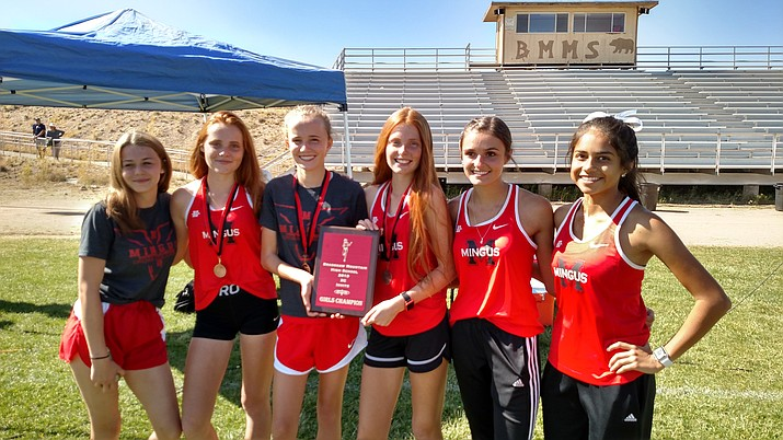 The Mingus girls cross country team claimed top honors in Saturday's Bradshaw Mountain Invitational. From left, Brooke Leake, Claire Peterson, Makena Bliss, Aubrey Peterson, Keeleigh Kreiner and Josey Valenzuela. Not pictured, Maisie Babcock and Safiya Sweeney. VVN/Dan Engler