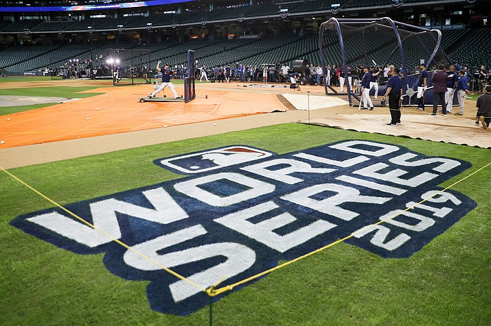 Houston Astros take batting practice for baseball's World Series Monday, Oct. 21, 2019, in Houston. The Houston Astros face the Washington Nationals in Game 1 on Tuesday. (Matt Slocum/AP)