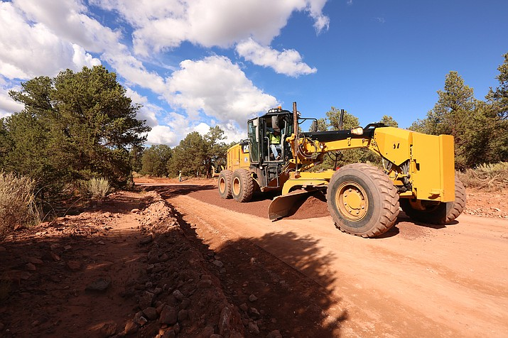 Road maintenance was performed on three miles of Navajo Route 9053 recently by NDOT. The road is a well-traveled school corridor. (Photo/Navajo Department of Transporation)