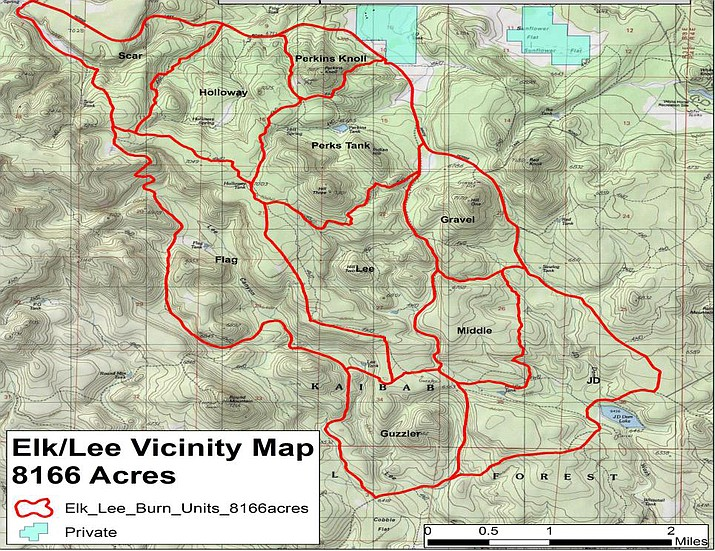 The Elk Lee Prescribed Fire project is located around 10 miles southeast of the city of Williams and is 8,166 acres in size. (Kaibab National Forest map)