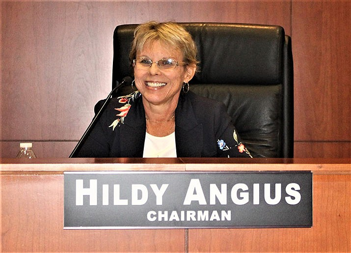 Hildy Angius, chair of the Mohave County Board of Supervisors, is shown at a recent meeting. (Daily Miner file photo)