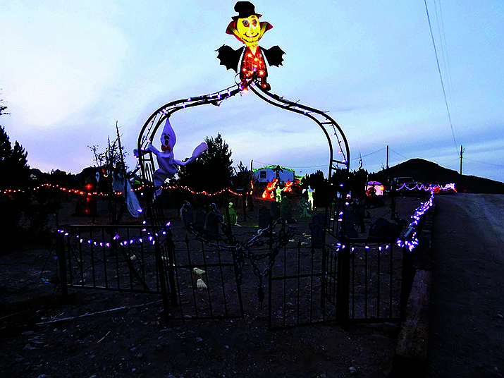 Don't be scared of this cemetery located at the Meriwether Halloween Display, 2225 S. Dome Road in Golden Valley. (Photo by Butch Meriwether/For the Miner)