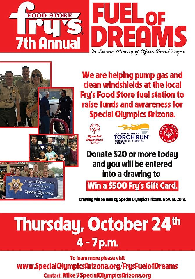 A flyer advertising the 7th annual Fuel of Dreams set to take place at the Fry's Food Stores location in Prescott Valley on Thursday, Oct. 24, 2019. (PVPD/Courtesy)