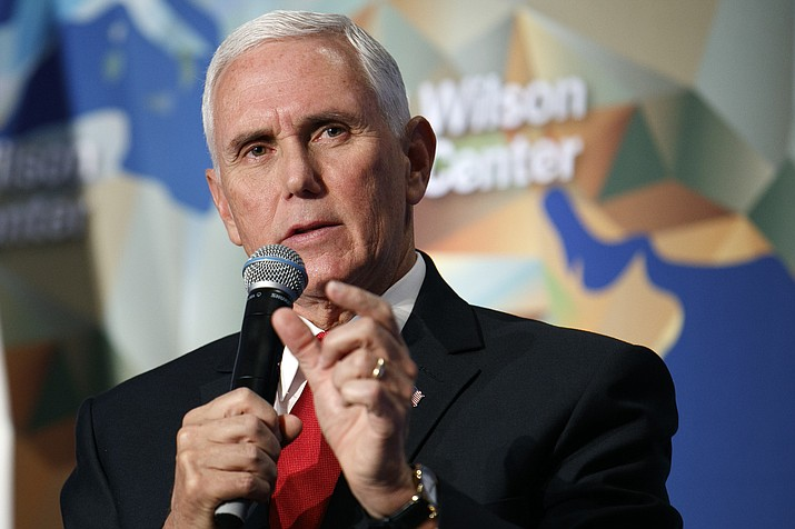 Vice President Mike Pence discusses U.S. and China relations Thursday, Oct. 24, 2019, at the Wilson Center's inaugural Frederic V. Malek Public Service Leadership Lecture, in Washington. (AP Photo/Jacquelyn Martin)