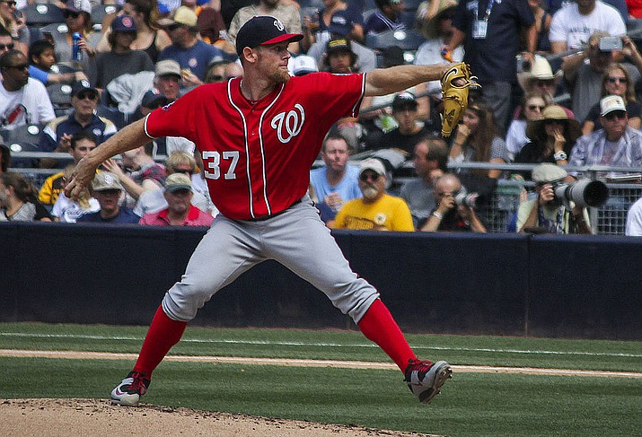 Nationals starting pitcher Stephen Strasburg allowed two earned runs on seven hits with seven strikeouts in six innings of work Wednesday night as the Nationals beat the Astros 12-3. (Photo by Johnmaxmena2, CC by 4.0, https://bit.ly/364OXgn)