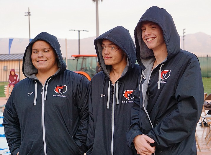 Bradshaw Mountain senior swimmers, left to right, Aden DeHerrera, Micah Smith and Joshua Baillie were honored during the swim team's senior night meet against Dysart and Winslow on Thursday, Oct. 24, 2019, at Mountain Valley Park in Prescott Valley. (Aaron Valdez/Courier)