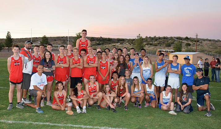 The Mingus Union and Camp Verde cross country teams pose for a photo after their dual meet on Wednesday at Camp Verde. VVN/James Kelley