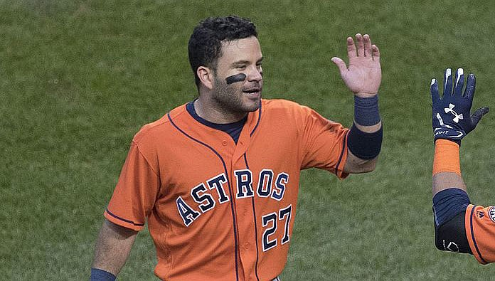 José Altuve doubled twice Friday night to help spark the Astros to a 4-1 win over the Nationals. (Photo by Keith Allison, CC by 2.0, https://bit.ly/32KnH4y)