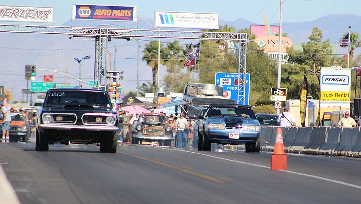 Drag racing fans from all over Arizona and the region showed up Saturday for a jam-packed day of competition on Route 66. Action concludes starting at 8 a.m. Sunday. Finals are scheduled to begin at 2:30 p.m. (Photo by Beau Bearden/Daily Miner)