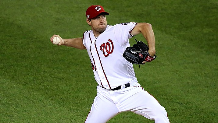 Washington pitcher Max Scherzer will miss his start Sunday night after he said neck pain started a few days ago, but he thought trainers would be able to help him pitch through it. (Photo by Arturo Pardavila III, CC by 2.0, https://bit.ly/36fxYbl)