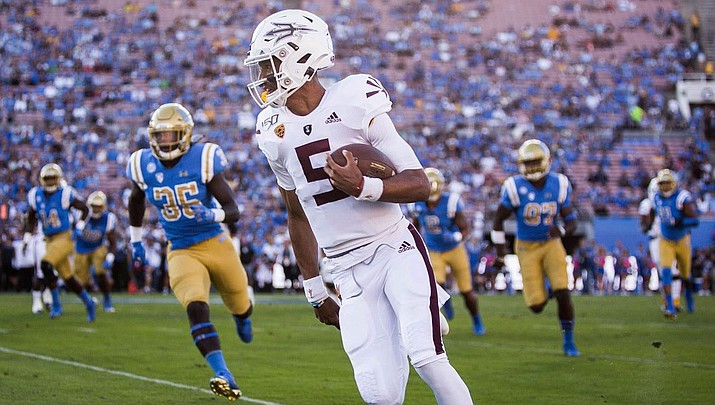 Arizona State's Jayden Daniels runs for a touchdown against UCLA on Saturday. (Arizona State athletics photo)