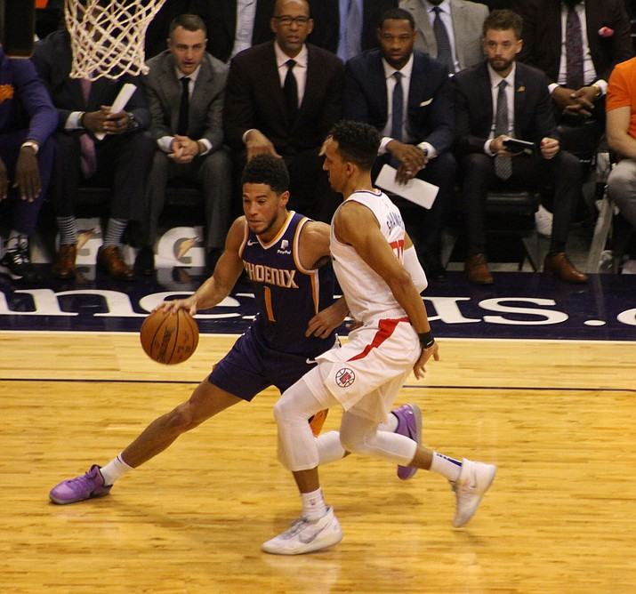 Devin Booker scored 30 points to help the Suns beat the Los Angeles Clippers 130-122 on Saturday for their first win in the series in more than three years. (Photo by Beau Bearden/Daily Miner)