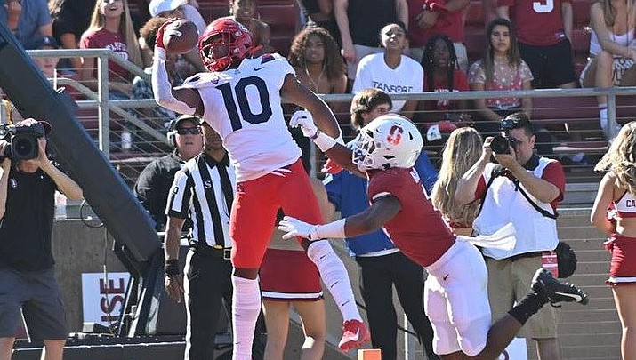 Wildcats wide receiver Jamarye Joiner attempts a one-handed grab during a 41-31 loss to Stanford on Saturday. (Photo courtesy of University of Arizona Athletics)