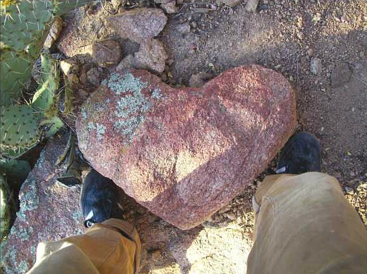 Local rock climbers hope the person who took this large heart-shaped rock from the top of Granite Mountain returns it to the Prescott National Forest, so climbers can continue their long-standing good-luck rituals. (Kyle Kent/Courtesy photo)