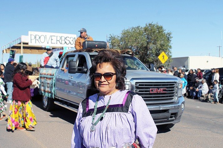 Reva Chissie Hoover served as one of three grand marshals of the 2019 Western Navajo Fair parade Oct. 12, in Tuba City, Arizona. She was chosen as grand marshal for being a community advocate and having a caring nature. (Joshua L. Butler/NHO)