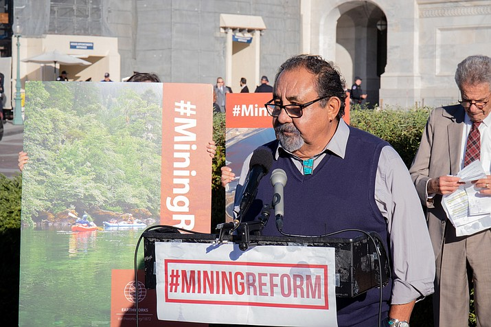 "Rep. Raúl Grijalva, D-Tucson, said outside the Capitol Oct. 23 that his bill, the Hardrock Leasing and Reclamation Act, is about modernizing an ""antiquated law."" (Kailey Broussard/Cronkite News)"