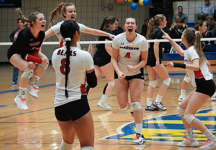 Bradshaw Mountain celebrates after scoring a point during the first set of its 3-0 win over Prescott on Monday, Oct. 28, 2019, at Prescott High School. (Aaron Valdez/Courier)
