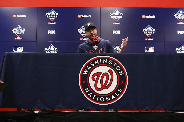 Houston Astros starting pitcher Justin Verlander speaks during a news conference before Game 5 of the baseball World Series against the Washington Nationals Sunday, Oct. 27, 2019, in Washington. (Alex Brandon/AP)