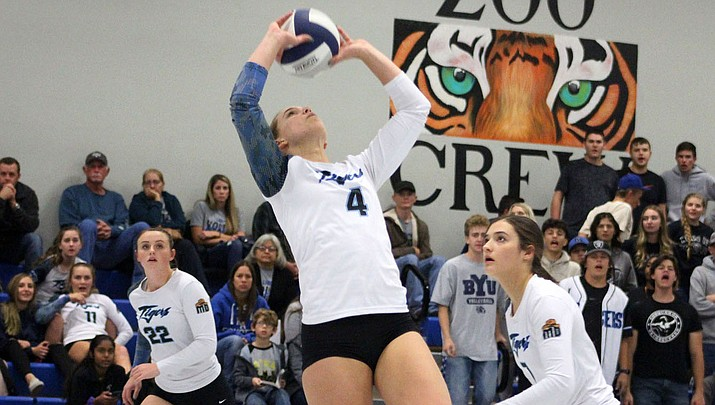 Kingman Academy's Lynsey Day makes a pass Tuesday night during a 3-1 victory over River Valley. The Lady Tigers conclude the regular season Thursday night at Chino Valley. (Photo by Beau Bearden/Daily Miner)