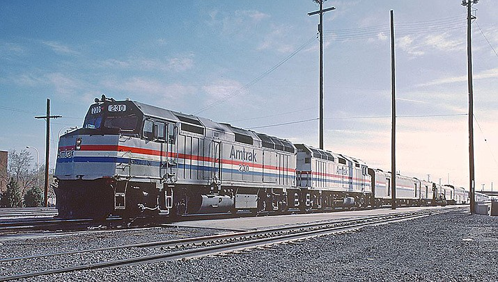 Amtrak's Southwest Chief, shown above in Albuquerque, carried more than 9,000 passengers to and from Kingman in 2018. (Photo by Roger Puta/Public domain)