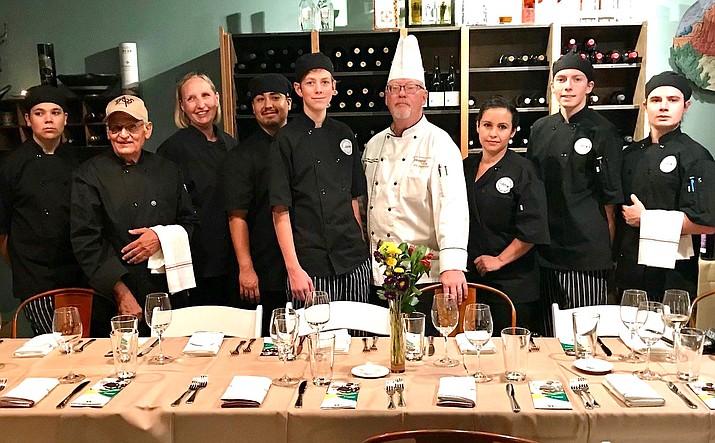 From left, Silas Russel, Leon Benatar, Phyllis McCarison, Isac Lerma, Jared Yoakum, Chef Robert Barr, Laura Becerra, Zachary Dana, Aidan Skoch. Courtesy photo