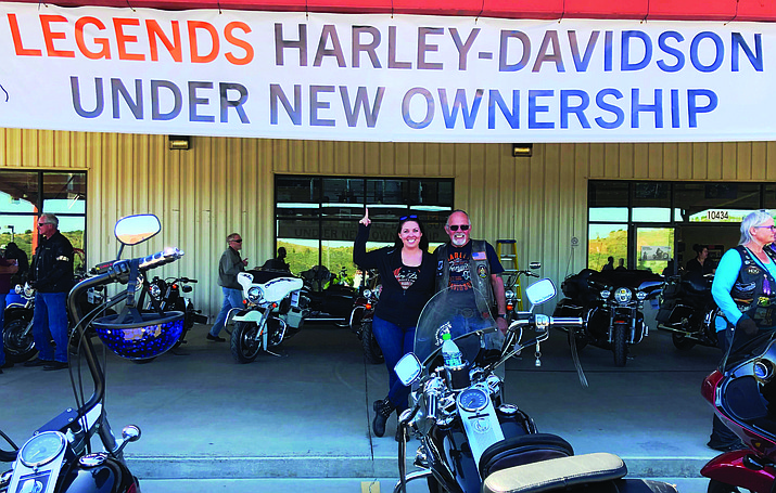 """Dia Matteson recently purchased the four dealerships formerly known as Grand Canyon Harley-Davidson. She posed for this photo =with her father, Barry, who opened an Alaska dealership in 1975. """"Legends Harley-Davidson"""" includes the dealership in Uptown Sedona at 320 State Route 89A, at Arroyo Roble Road, with parking in back. Courtesy photo."""