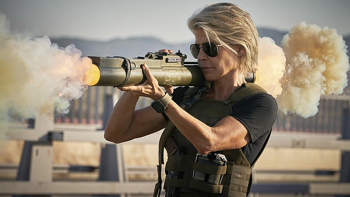 "This image released by Paramount Pictures shows Linda Hamilton in ""Terminator: Dark Fate."" (Kerry Brown/Paramount Pictures via AP)"