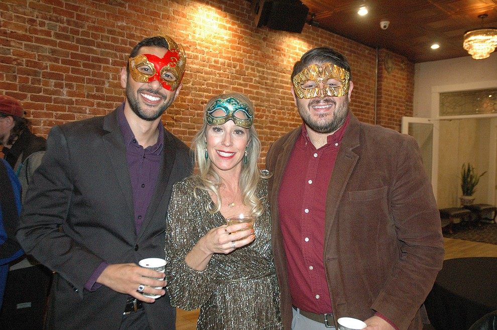 Zach Leonard, Kelly Soldwedel and Joe Viccica at the reveal party for the 2020 Dancing for the Stars event at The Grand Highland Hotel Wednesday, Oct. 30. (Jason Wheeler/Courier)