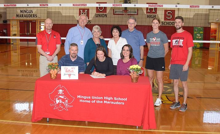 Mingus senior Jenna Mahon signed with Arizona Christian volleyball last Thursday at the MUHS gym. VVN/James Kelley