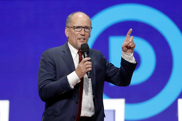 In this Tuesday, Oct. 15, 2019, file photo, Tom Perez speaks before a Democratic presidential primary debate hosted by CNN/New York Times at Otterbein University, in Westerville, Ohio. The Democratic National Committee is increasing pressure on its presidential candidates to commit to campaign actively for the party's nominee in 2020. The unity push from Chairman Perez is part of a wide-ranging voter outreach strategy designed to prevent the mistakes that cost Democrats the 2016 presidential election. (AP Photo/John Minchillo, File)