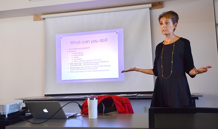 "Heather Herman who the chamber hired as its new marketing consultant in February, talked about ways that the chamber can promote the area and increase visitors during a Cottonwood Chamber of Commerce ""Tourist Round Up!"" meeting Tuesday. VVN/Vyto Starinskas"