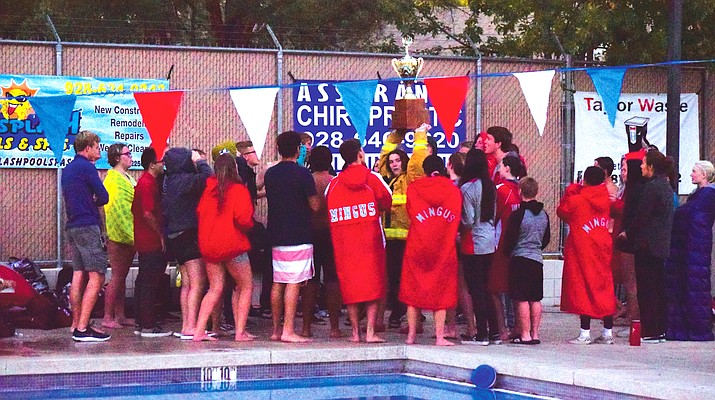 MIngus Union swimmers celebrate winning the Heisley/Estes Cup for the fifth straight year. The Marauders beat Sedona Red Rock 118-70 VVN/James Kelley
