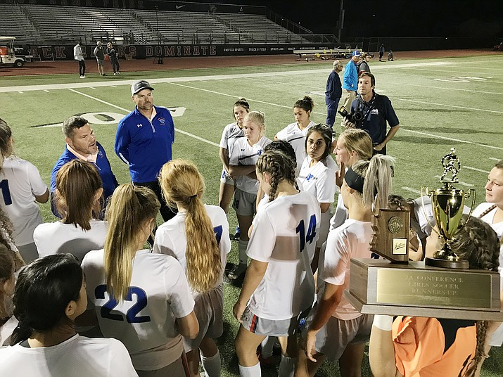 Chino Valley head coach Allen Foster talks to his club after a 2-0 loss in the 2A state championship to Northland Prep. on Saturday, Nov. 2, 2019, in Gilbert. (Brian M. Bergner Jr./Courier)