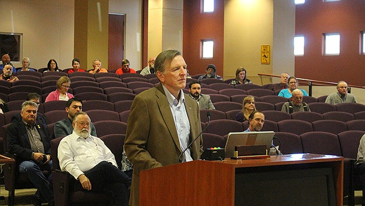 Rep. Paul Gosar speaking in front of the Mohave County Board of Supervisors in support of the resolution, Monday, Nov. 4 (Photo by Agata Popeda/Daily Miner)