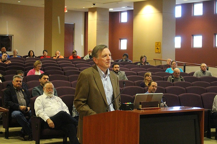Rep. Paul Gosar speaking in front of the Mohave County Board of Supervisors in support of the resolution, Monday, Nov. 4