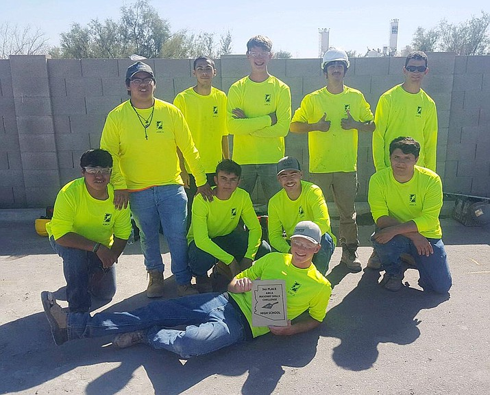 With the help of three student-tenders, seven Valley Academy masonry students finished top-70 in the Oct. 19 Fastest Trowel masonry competition in Chandler. Courtesy Valley Academy of Career and Technology Education