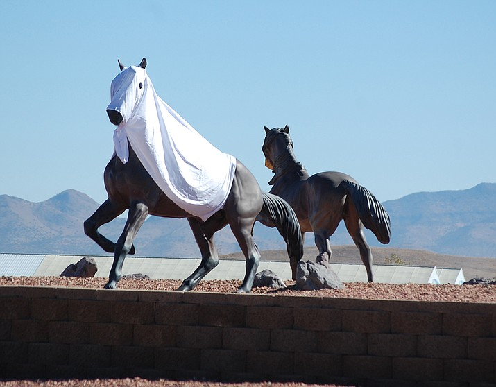 The roundabout at Highway 89 and Outer Loop Road is back together, after being hit by a car, and on Oct. 31, 2019, the horses were decked out for Halloween. (Tim Wiederaenders/Review)
