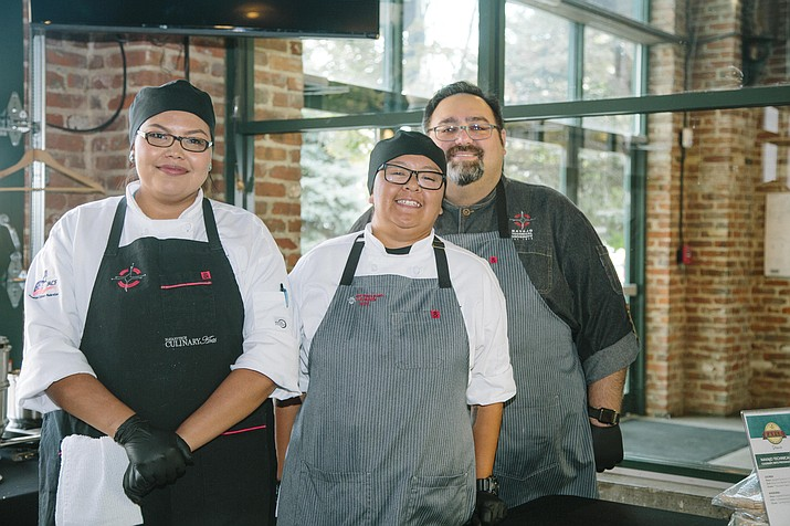 Navajo Technical University culinary arts students Jucinda Begay and Angelena Sheppard along with instructor Brian Tatsukawa participated in fundraising efforts at the annual Denver Epicurean Award to Support Students Sept. 17. (Photo/Navajo Technical University)