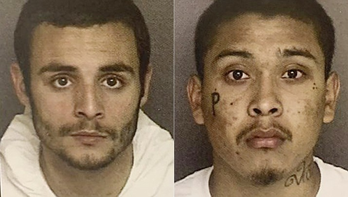 These undated photos provided by the Monterey County Sheriff's Office show inmates Santos Fonseca, left, and Jonathan Salazar, right, who escaped from from Monterey County Jail Sunday, Nov. 3, 2019. Authorities say the two murder suspects have escaped from central California's Monterey County Jail. (Monterey County Sheriff's Office via AP)
