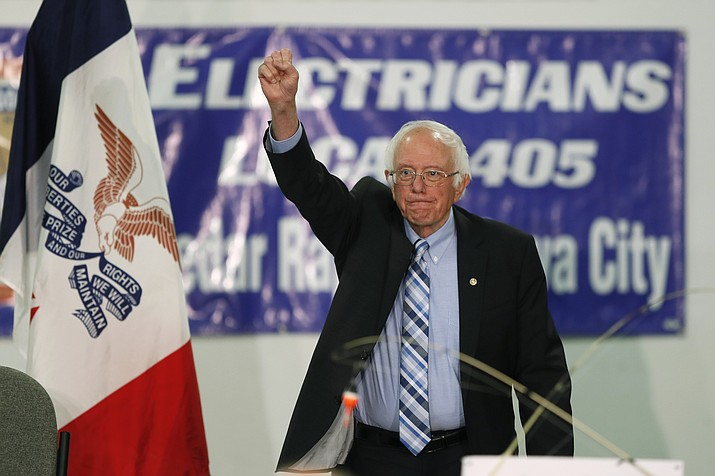 In this Nov. 2, 2019, photo, Democratic presidential candidate Sen. Bernie Sanders, I-Vt., speaks at Hawkeye Downs Expo Center in Cedar Rapids, Iowa. Sanders is calling for decriminalizing illegal border crossings, backing an idea that further exposes the Democratic presidential primary's deep ideological divides. (Charlie Neibergall/AP, File)