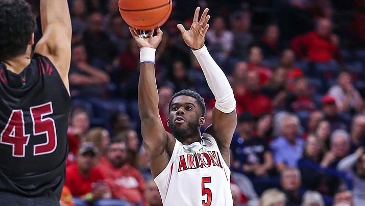 Max Hazzard and the Wildcats opened the 2019 season with a 91-52 rout of Northern Arizona on Wednesday night. (Photo courtesy of Mike Christy/Arizona Athletics)
