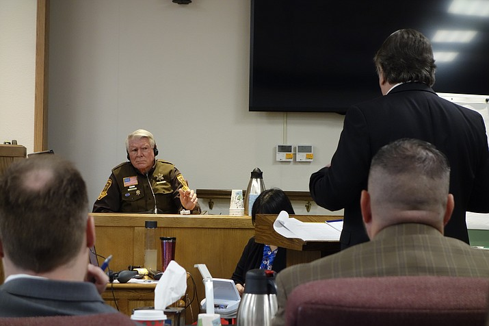 Stephen Edgar, 73, is questioned by defense attorney Craig Williams during the attempted murder trial of Gregory Niedermeyer on Thursday, Nov. 7, 2019. Niedermeyer allegedly shot Edgar with a rifle in Ash Fork in 2015. (Max Efrein/Courier)