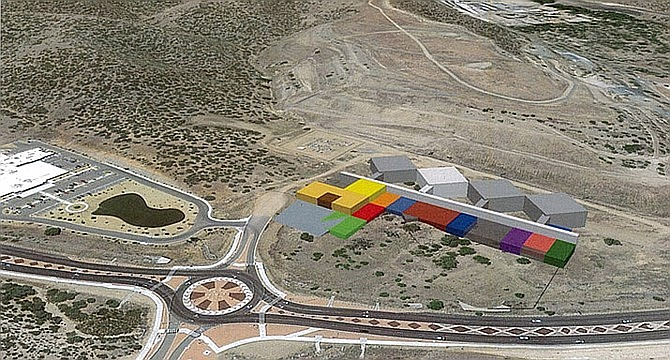 This image shows the proposed design of the Yavapai County Criminal Justice Center on its chosen site south of Prescott Lakes Parkway. The white building indicates the first of four pods to be built. Courtesy of Yavapai County