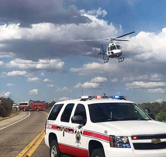 A helicopter was used at the scene of a head-on crash June 22, 2019, on Highway 89, north of Paulden. Central Arizona Fire and Medical Authority (CAFMA) has been awarded the Premier Emergency Medical Services (EMS) Agency status by the Arizona Department of Health Services. (CAFMA/Courtesy)