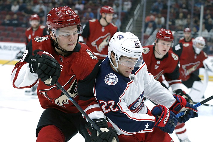 Arizona Coyotes center Barrett Hayton (29) and Columbus Blue Jackets left wing Sonny Milano (22) fight for the puck in the first period during a game, Thursday, Nov. 7, 2019, in Glendale (Rick Scuteri/AP)