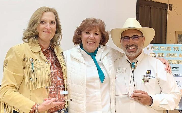 Juliana Malouff-McCroskey, center, 2019 PAAR president, poses with the 2019 PAAR Realtors of the Year, Lynn Kent, left, and Randy Nelson. (Prescott Area Association of Realtors/Courtesy)